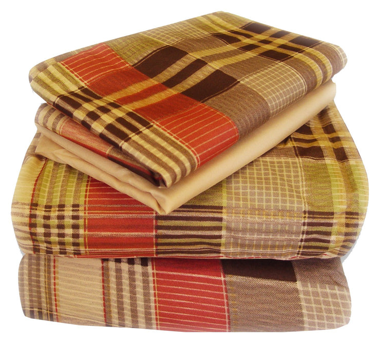 Couture Home Collection Classic Plaid Printed Neutral Color Light 100 % Wrinkle Free Sheet Set (Twin, Brown)