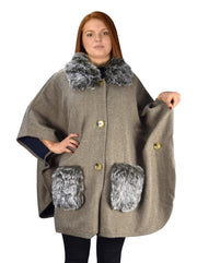 Faux Fur Poncho Large Pockets Sweater Relaxed Fit Pullover Warm Cover Up