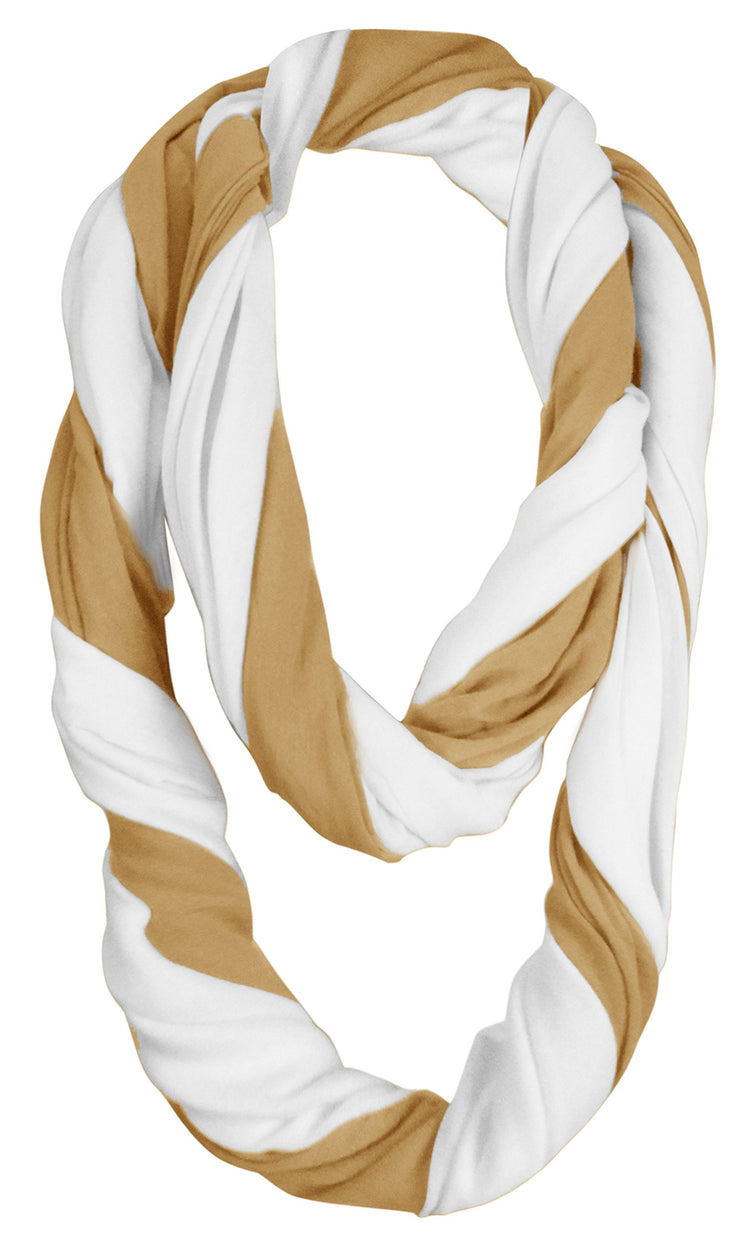 Elegant Light Weight Two Color Infinity Circle Loop Scarf Long Scarf (White/Tan)