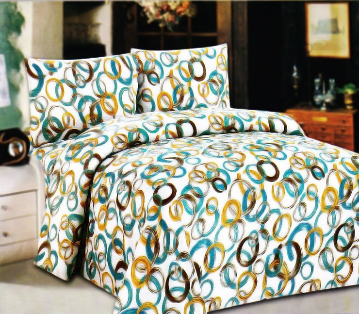 Couture Home Collection Modern Art Inspired Multi Size & Color Linked Circles Deep Pocket Wrinkle Free Sheet Set - 650 Thread Count