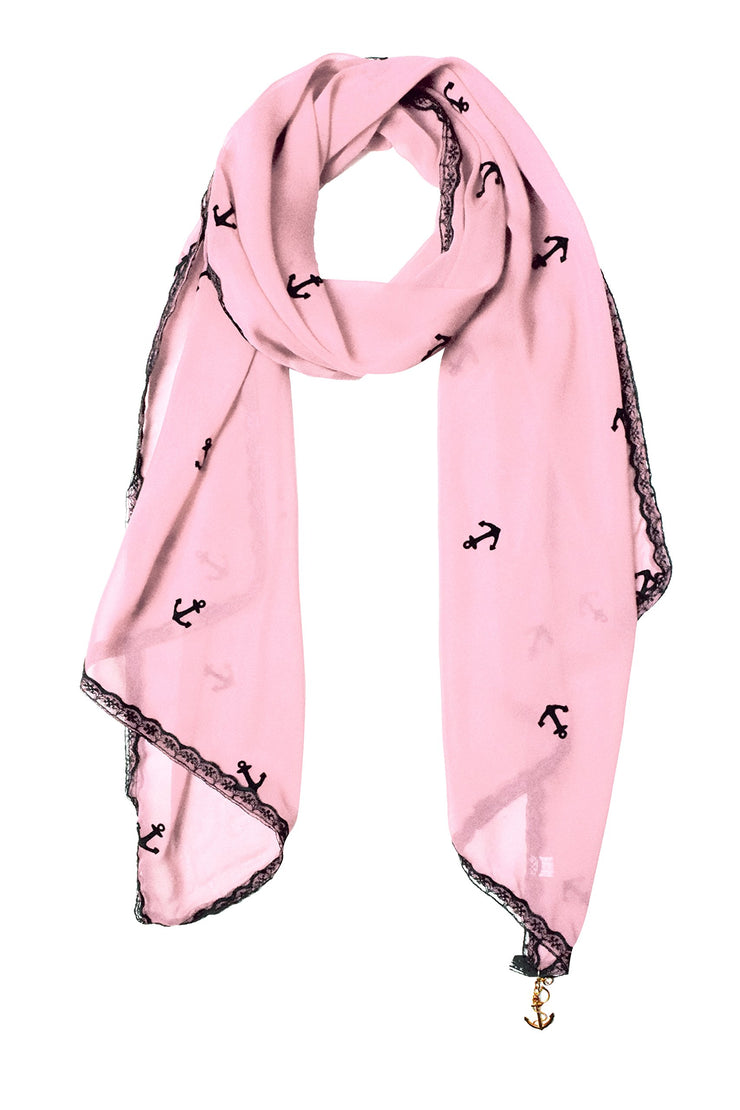 Sheer Vintage Anchor Embossed Scarf with Anchor Charm & Lace Border(Baby Pink)