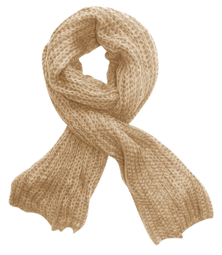 Beige Peach Couture Long Chunky and Warm Loose Knit Scarf