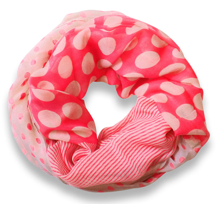 Peach Couture Multi Polka Dot Circle and Stripe Print Infinity Loop Scarf