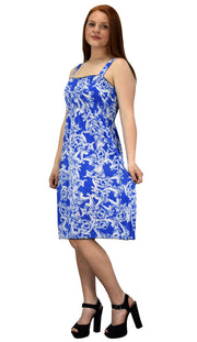Women's Knee Length Multicolor Exotic Smocked Printed Summer Dress (Blue White L)