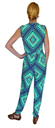 Tribal Geometric V Neck Button Sleeveless Romper Jumpsuit L Blue