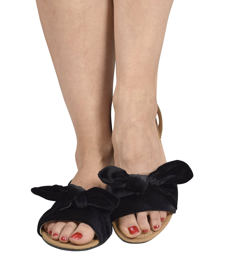 Women Teens Girls Velvet Bowknot Bow tie Flat Heel Cute Thong Strappy Slides Flip Flops Sandals