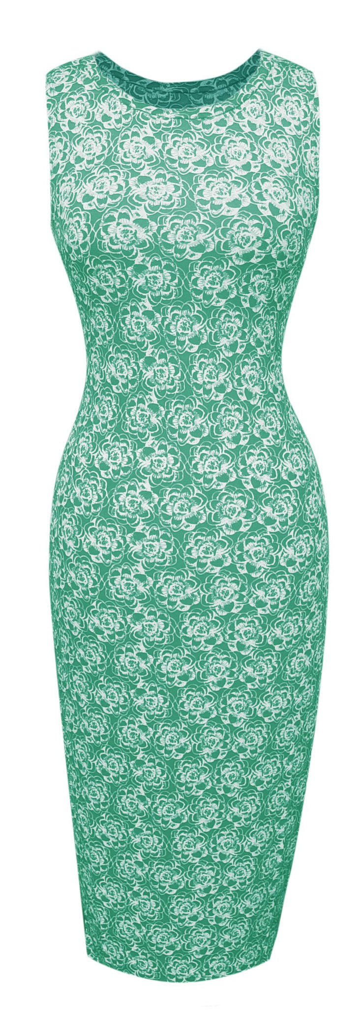 A1595-Floral-BodyconDress-Mint-Med-JG