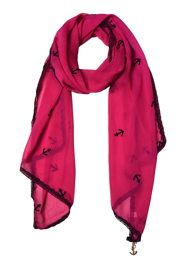 Sheer Vintage Anchor Embossed Scarf with Anchor Charm & Lace Border(Fuchsia)