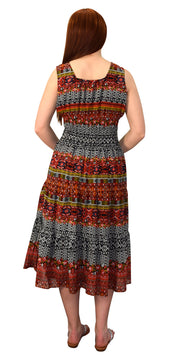 Printed Damask Summer Tiered Calf Length Dress with Neck Tie