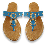 Women`s Sparkle Metal Flat Beach Open Back Thong Sandal