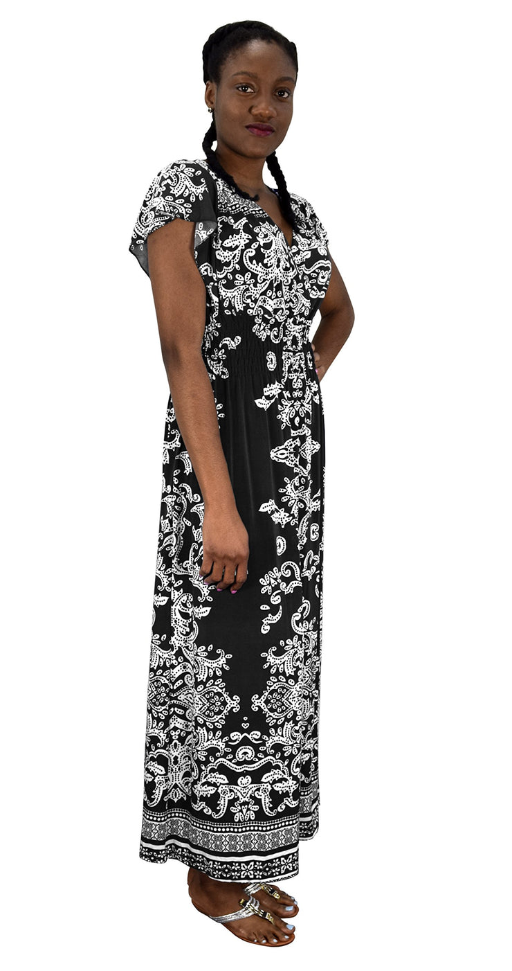 Summer Fashion Womens Surplice Bodice Cap Sleeves Damask Maxi Dress