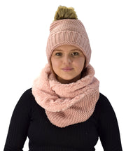 Peach Couture Thick Crochet Weave Beanie Hat Plush Infinity Loop Scarf 2 Pack