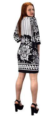 Floral Placement Border Three Quarter Sleeve Shift Dress-Missy