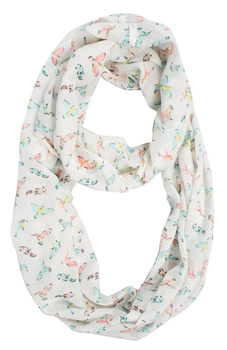 Vintage Graphic Sheer Bird Print Scarf Infinity Scarf Loops Circle Scarf White