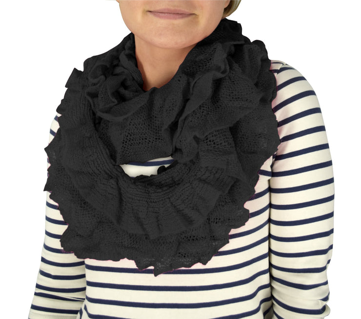 Trendy and Chic Ruffle Edge Thick Knitted Circle Infinity Loop Scarf