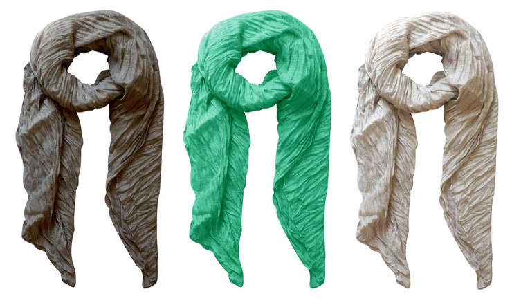 Silver, Grey, Aqua Peach Couture Solid Colorful Soft Crinkled Lightweight Versatile Wrap Scarf
