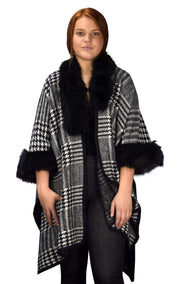 Houndstooth Print Faux Fur Poncho Sweater