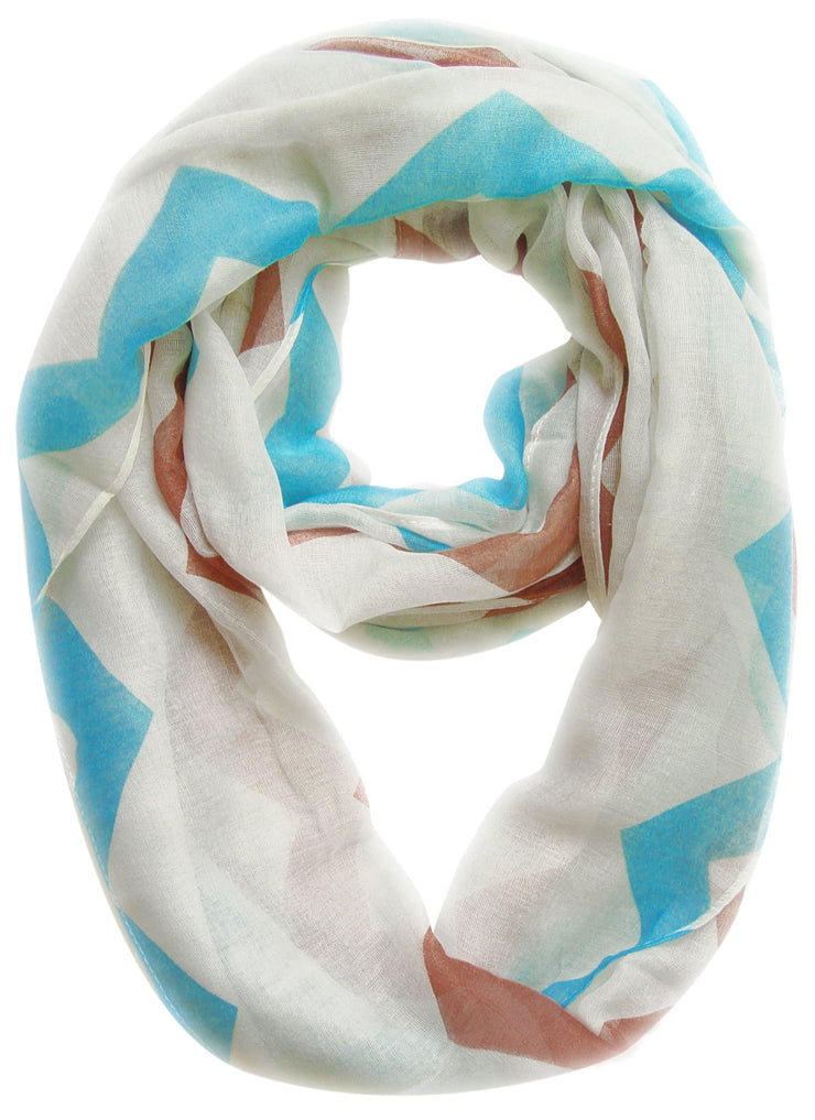 Turquoise/Brown Peach Couture Modern Radiant Multicolored Chevron Geometric Infinity Loop Scarf