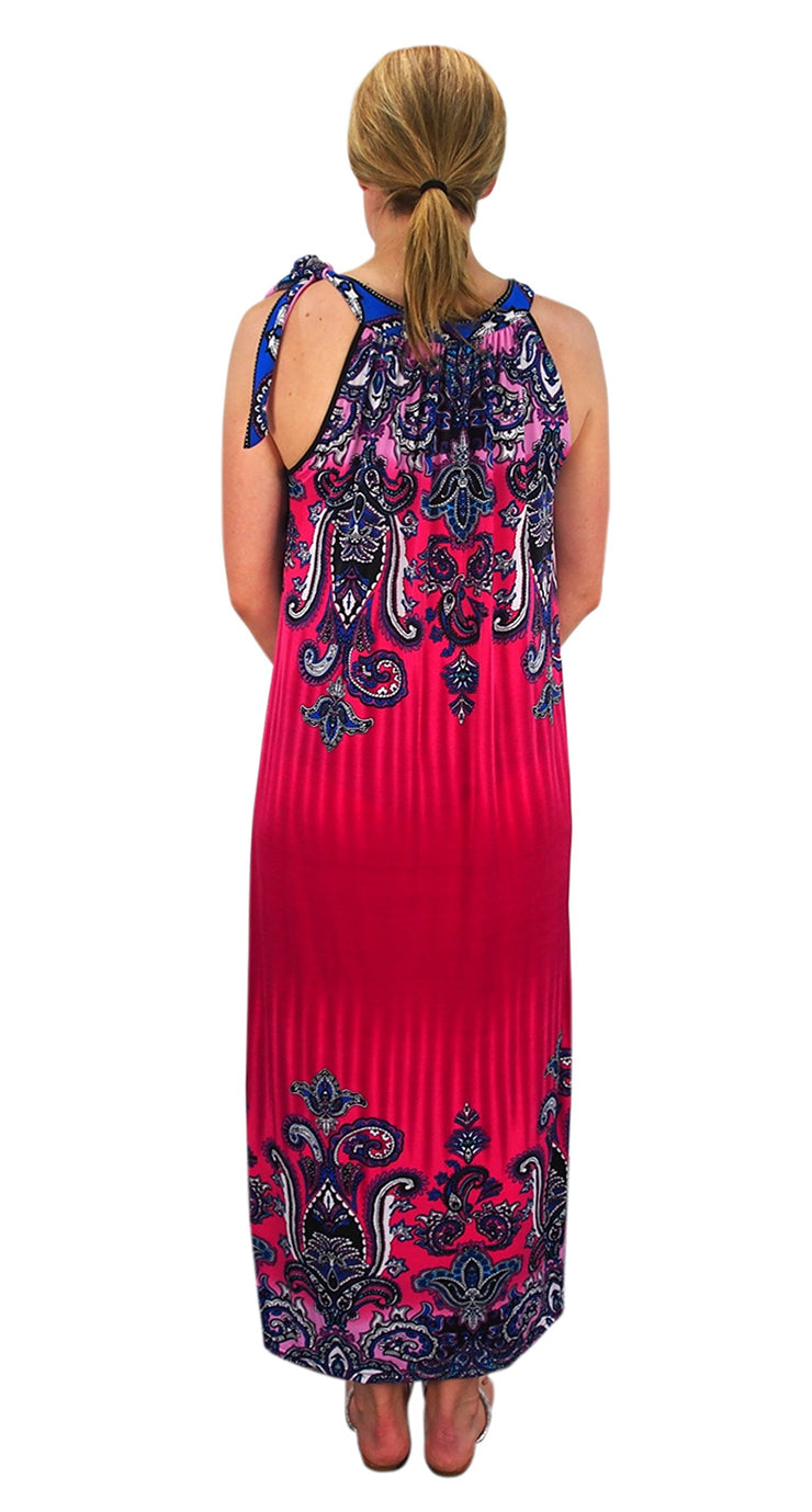 Bohemian Fashion Exotic Paisley Print Plus Size Halter Maxi Dresses
