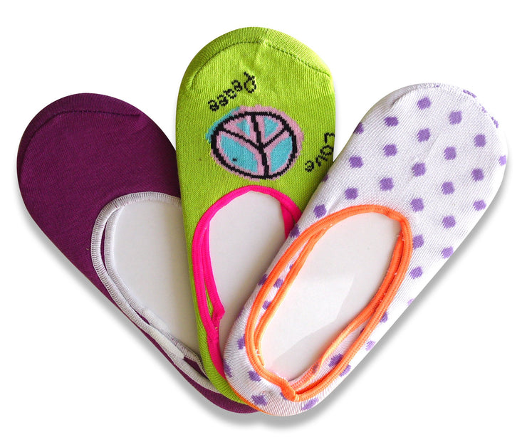 Living Socks Ladies Cute No Show Foot Liner Socks Printed and Solid-4-10 Shoe