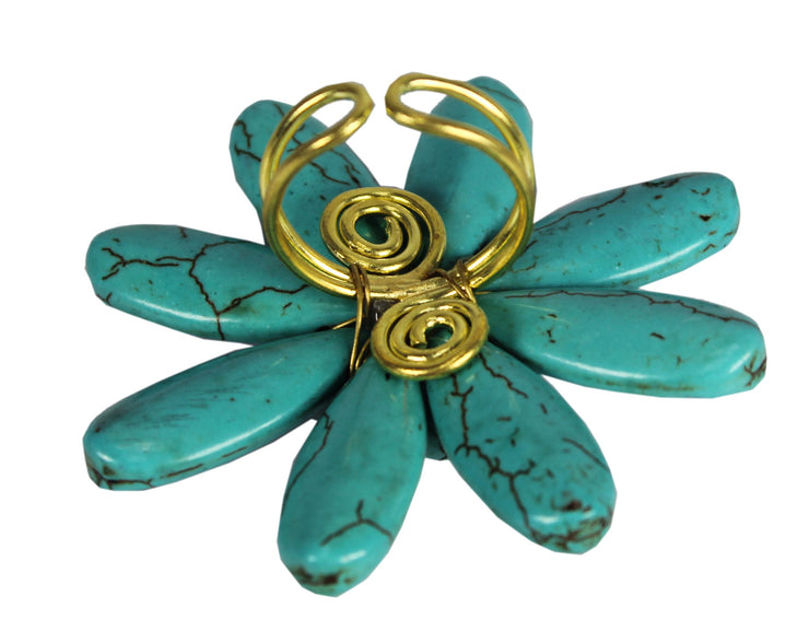 Gems Couture Jewelry Turquoise Adjustable Flower Ring