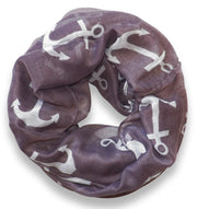 All season Infinity Loop Scarves Bold Anchor Print Scarf