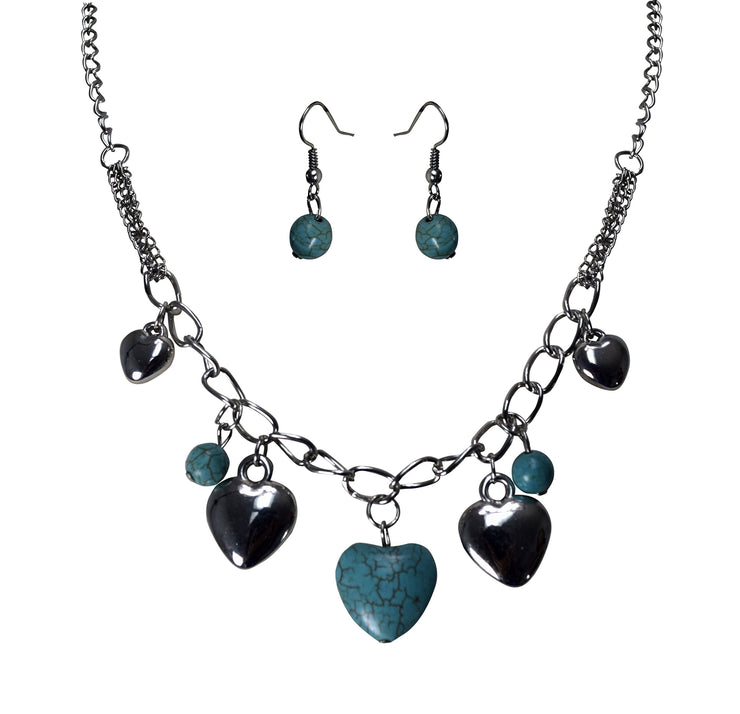 B0071-NecklaceEarring-TurqHeart-OS