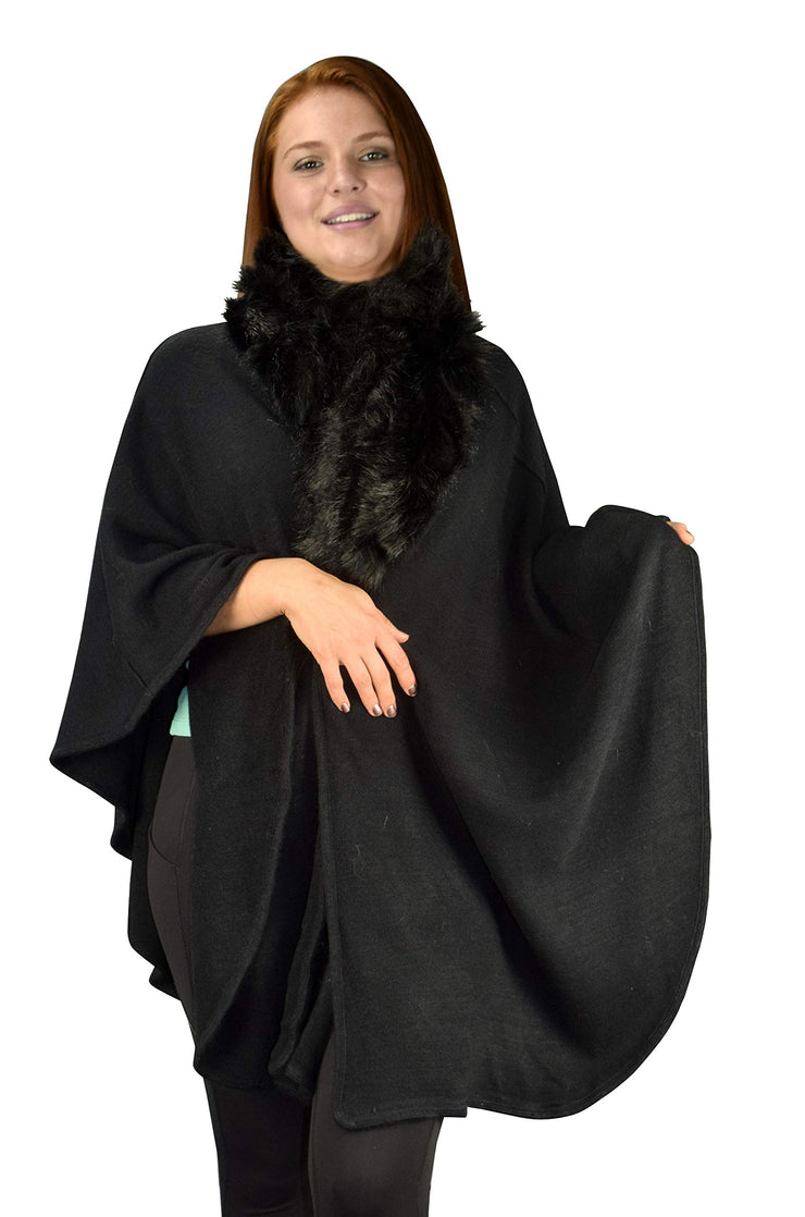 Womens Faux Fur Relaxed Fit Poncho Cape Pullover Sweater (OneSize, Solid Black)