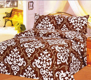 Couture Home Collection Beautiful Damask Printed Neutral Color 100 % Wrinkle Free Sheet Set-650 Thread (Damask Brown, King)