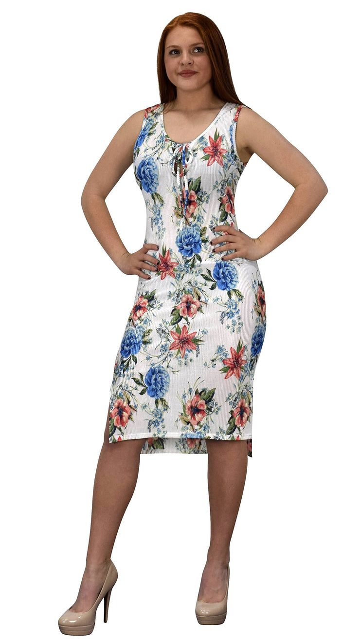 Womens Floral Print Sleeveless Pleat Fabric Bodycon Dress