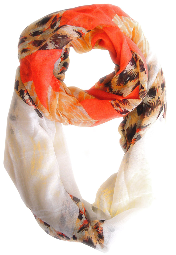 Salmon and Orange Peach Couture Animal Print Wide Chevron Design Summer Infinity Loop Scarf