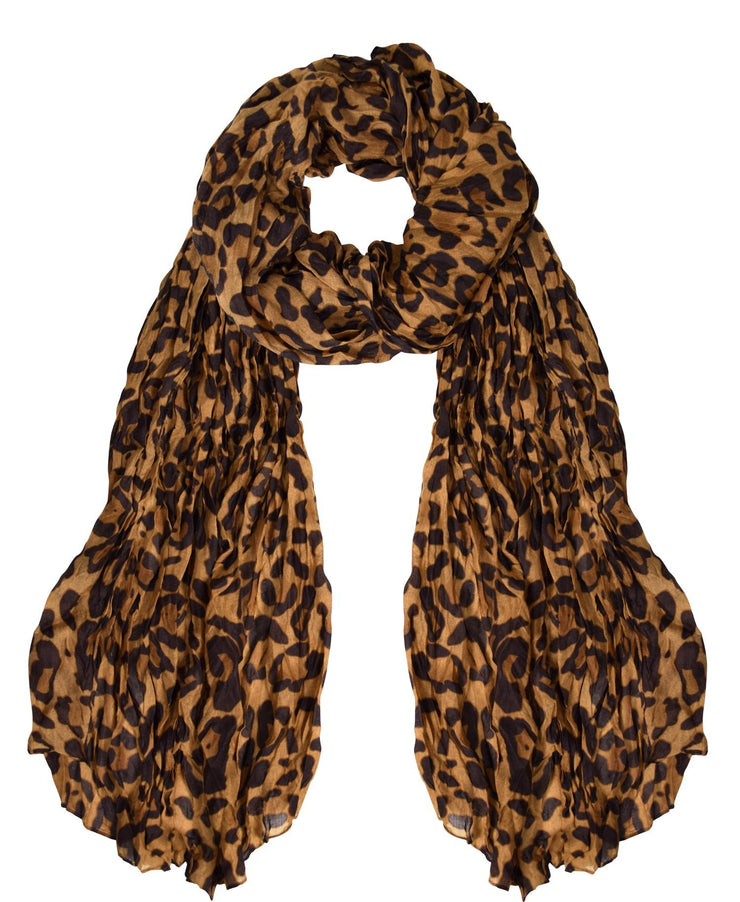 Brown Peach Couture Trendy Women's Leopard Animal Print Crinkle Scarf wrap
