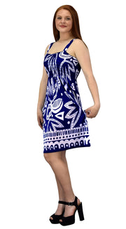 Juniors Knee Length Multicolor Exotic Smocked Printed Summer Dress (Aztec Navy White XXL)