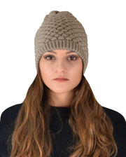 Taupe Thick Crochet Knit Double Layer Beanie Slouchy Hat