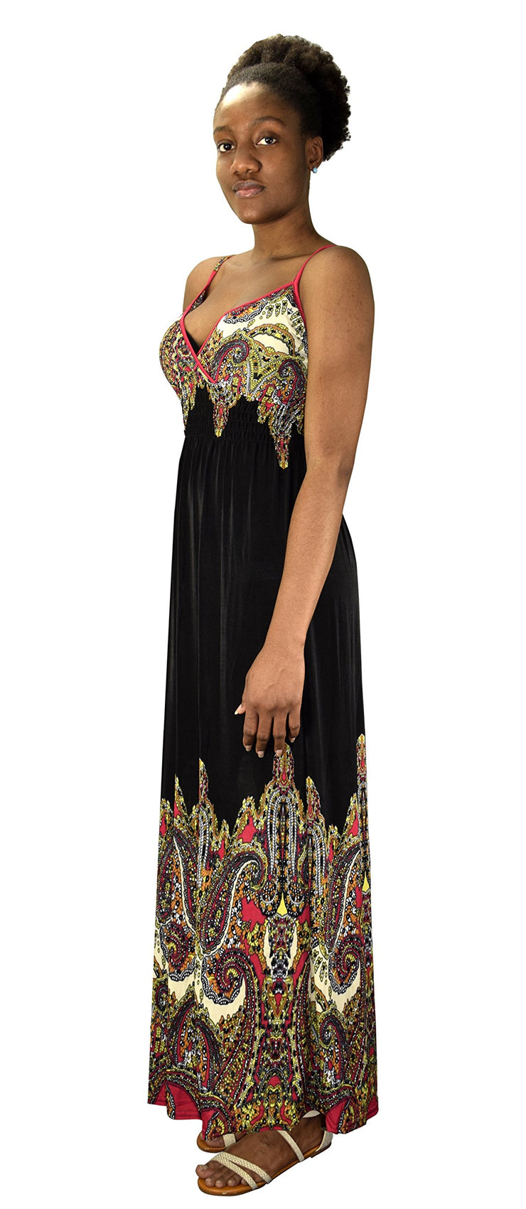 Peach Couture Spaghetti Strap Sleeveless Paisley Cocktail Vintage Maxi Dress