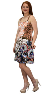 Women's Knee Length Multicolor Exotic Smocked Printed Summer Dress (Floral Coral Brown XL)