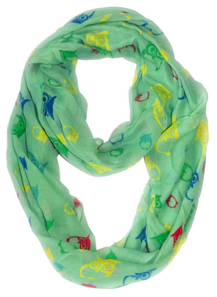 Mint Peach Couture Stunning Colorful Lightweight Vintage Owl Print Infinity Loop Scarf