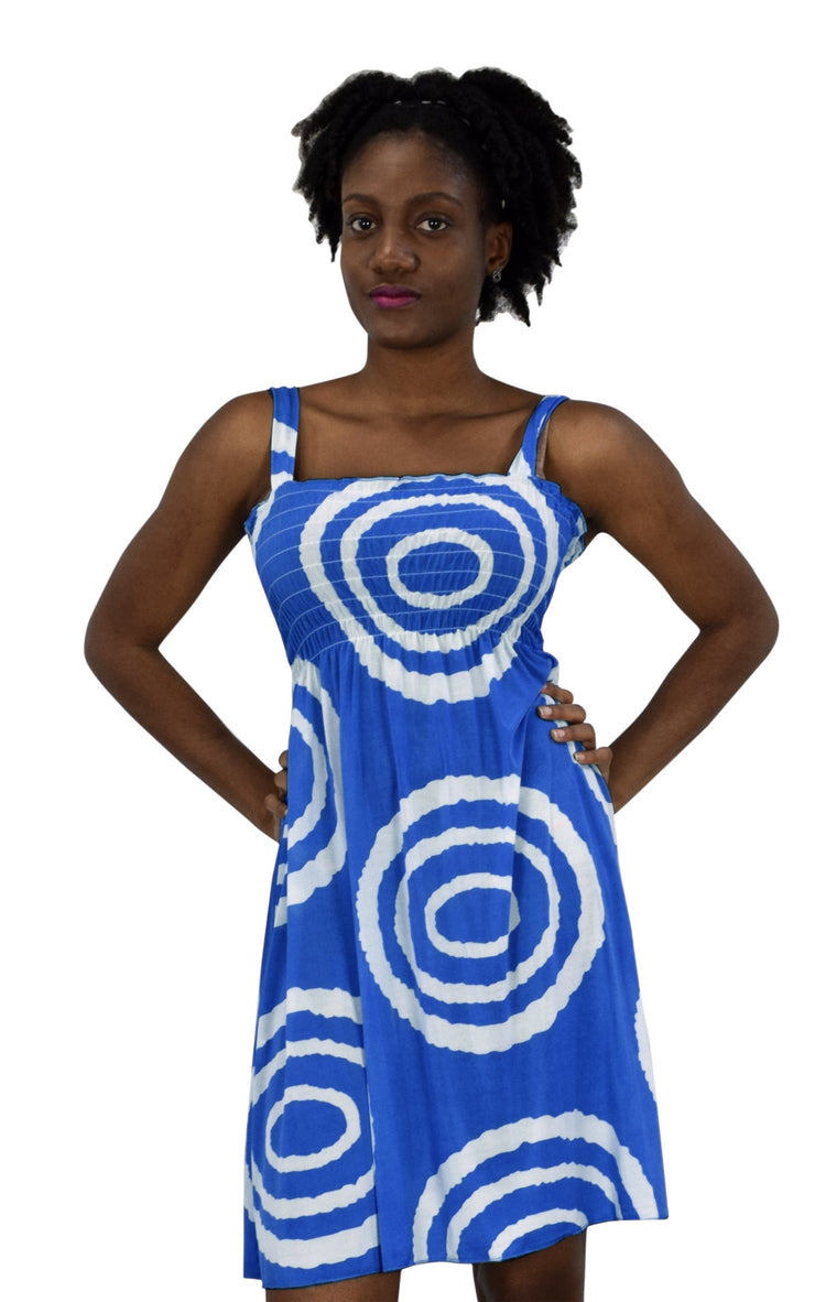 Juniors Knee Length Multicolor Exotic Smocked Printed Summer Dress (Blue White Circle Large)