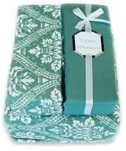 Couture Home Collection Lovely Damask Printed Light and Airy 100 % Wrinkle Free Sheet Set (Twin, Teal)