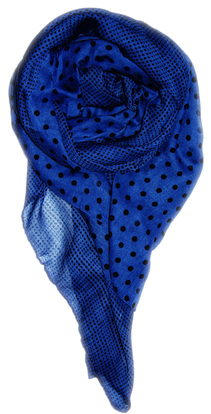 Blue/Black Peach Couture Soft Lightweight Fashion Charming Polka Dot Sheer Scarf Shawl Wrap