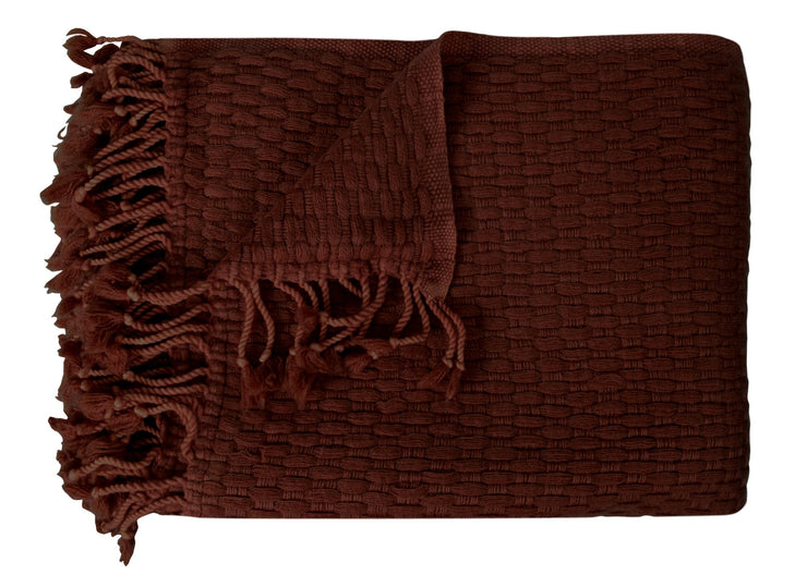Peach Couture Home Collection Luxurious Look and Feel Basketweave Authentic Cashmere Throw with Tassels 50 x 60 in