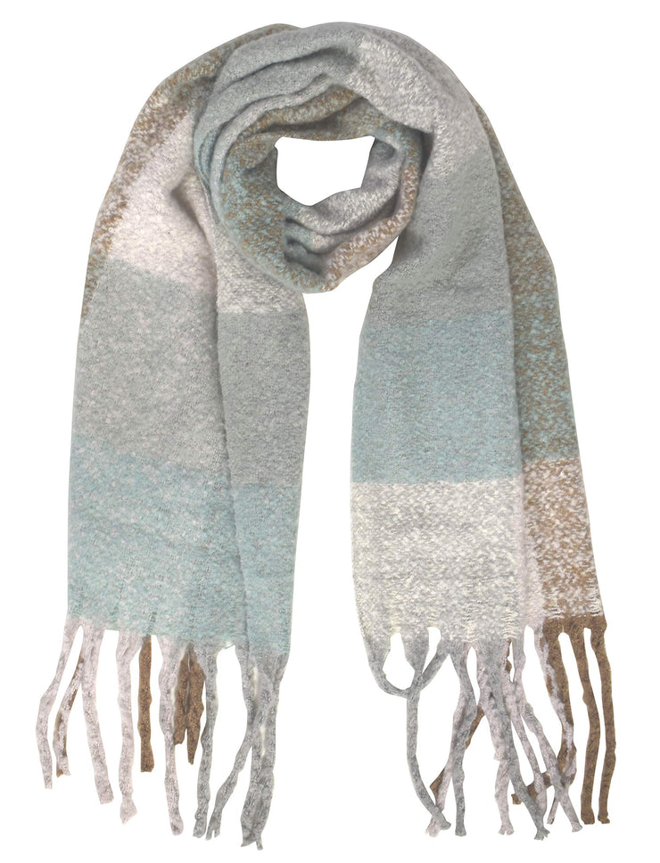 Winter Soft and Warm Casual Knitted Plaid Chunky Wrap Scarf with Tassels