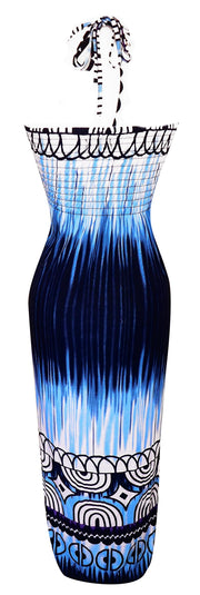 Exotic Tie Dye Self Tie Halter Vacation Maxi Dress Deep Blue L