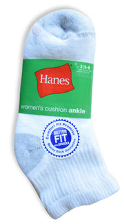 Hanes Women's Comfort Fit Cushion Ankle Value 3 pack Socks (White and Grey, Size 5-9)