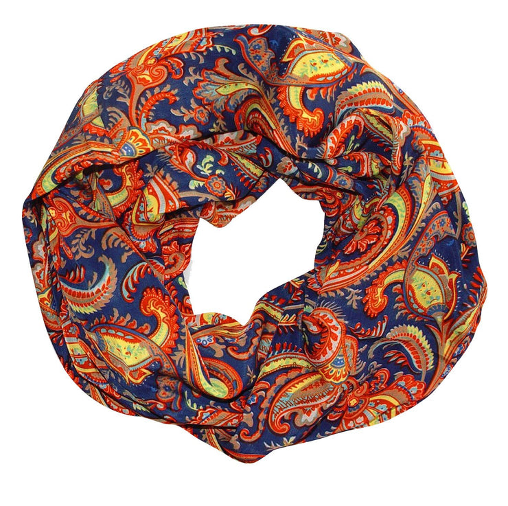 Dark Blue Peach Couture Colorful Victorian Damask Lightweight Infinity Loop Scarf