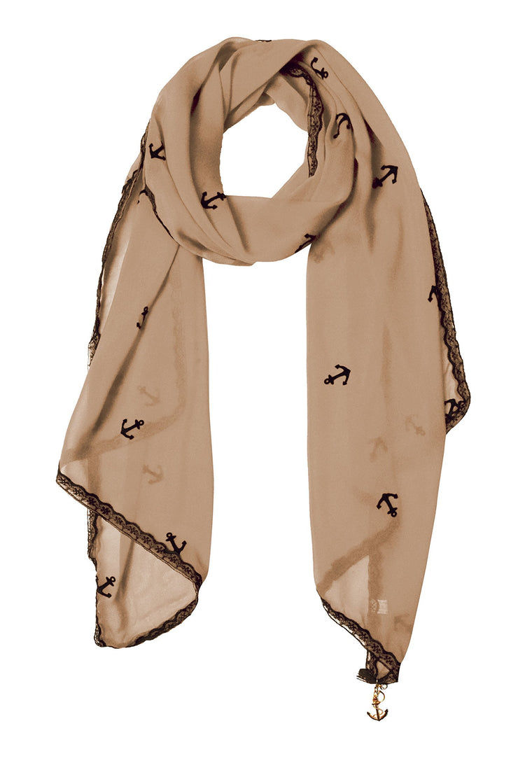 Tan Vintage Nautical Anchor Print Multi-color Scarf