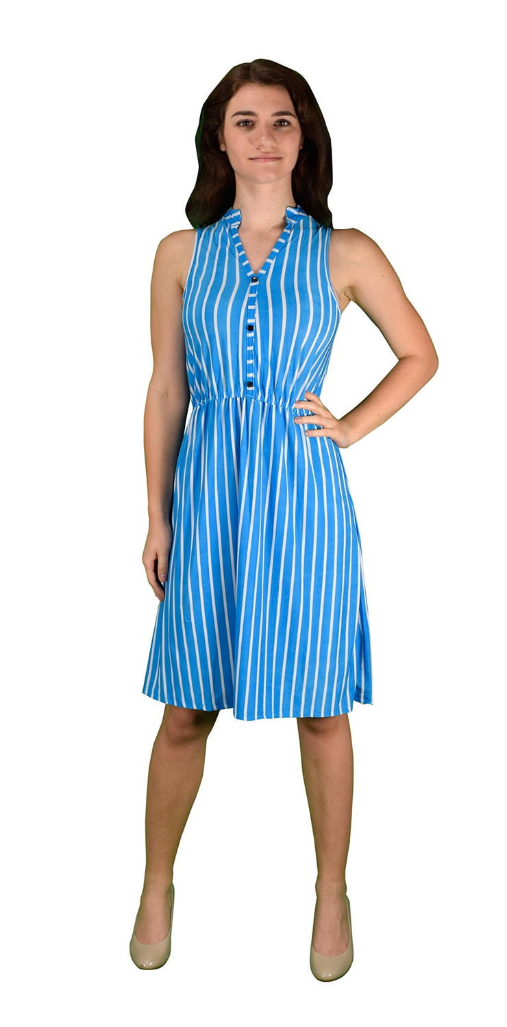 A1524-Stripe-Button-Dress-Blue-XL-KL