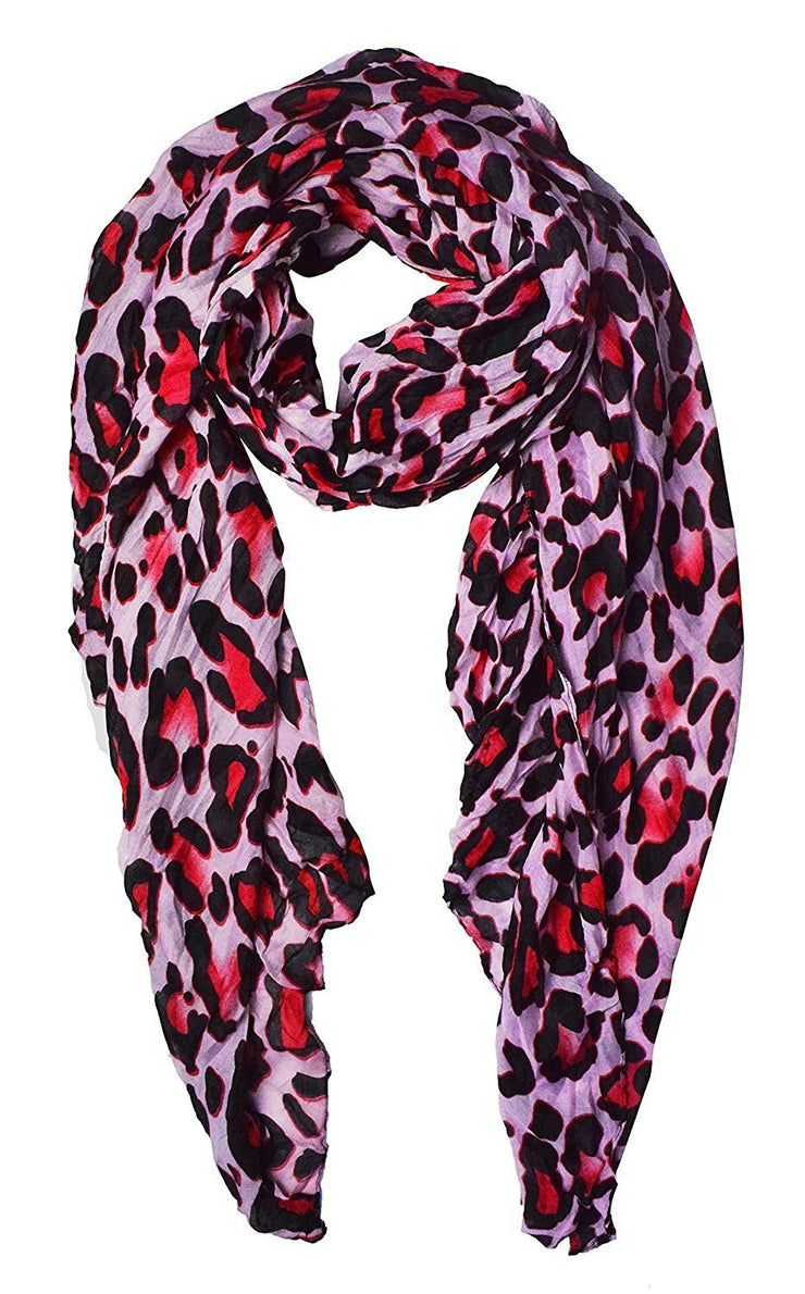 Fuchsia Peach Couture Trendy Women's Leopard Animal Print Crinkle Scarf wrap
