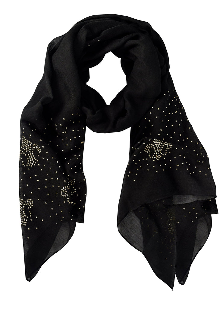 Black Studded Peach Couture Classic Glittering Sparkle Studded Scarf Shawl Wrap