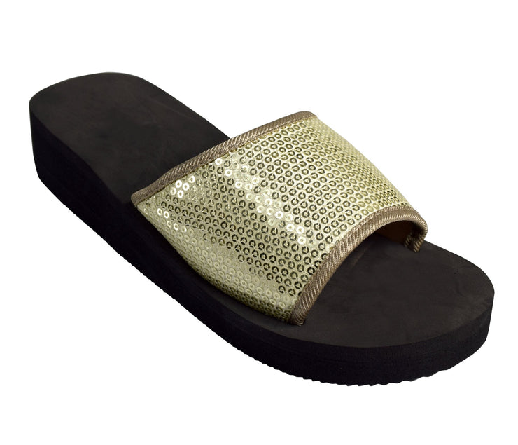 Plaform Sandals Slipper Sequin Slip On Slides Foam Wedge Flip Flop